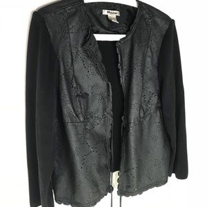 Nygard Laser cut Leather front Knit Cardigan
